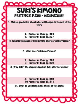 Suki's Kimono Reading Street 3rd Grade Partner Read Unit 5 Week 1 centers groups