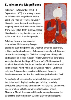 Suleiman the Magnificent Handout