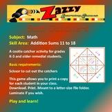Sum Catcher Activity Math Addition Sums 11-18