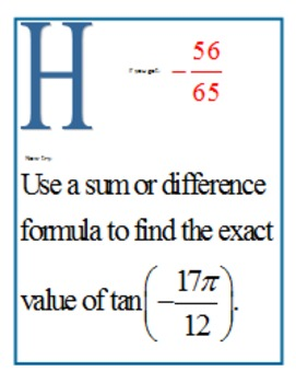 Sum & Difference Formulas Scavenger Hunt