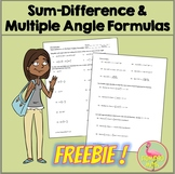Sum Difference and Multiple Angles Formulas *FREEBIE* (Pre