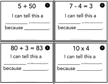 Sum Difference Product or Quotient Task Cards