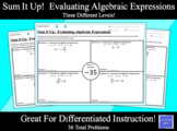 Sum It Up!  Differentiated Evaluating Algebraic Expressions Activity