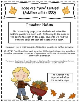 Sum Leaves - Fall Theme CCSS Addition within 1000 Activity