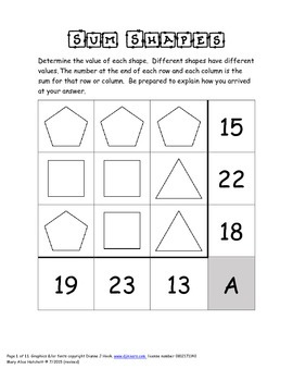 Sum Shapes (addition puzzles)