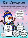 Adding Decimals & Whole Numbers - Sum Snowman! Activity
