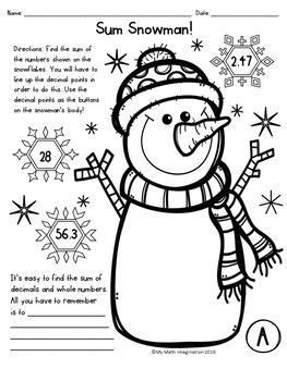 Adding Decimals & Whole Numbers - Sum Snowman! Activity
