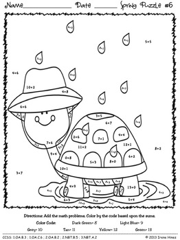 color by number spring addition math puzzles sum spring showers