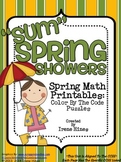 "Spring: ""Sum"" Spring Showers ~ Addition Math Color By The"
