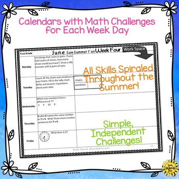 Summer Math Homework Packet: Activities for First Grade Review and Practice
