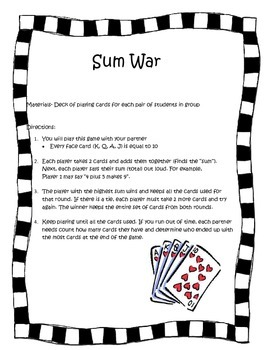 Sum War Game Directions