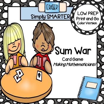 Sum War:  LOW PREP Addition War Style Card Game