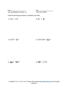 Sum and Difference of Cubes with Bonus Polar Form Worksheet Pack