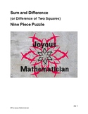 Sum and Difference or Difference of Two Squares Nine Piece Puzzle