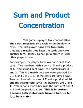 Sum and Product Concentration Game A