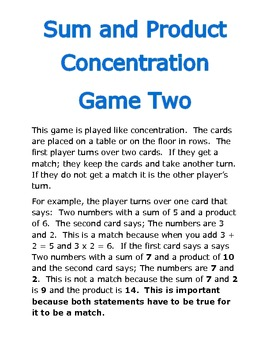 Sum and Product Concentration Game Two