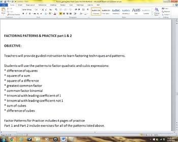 Factoring Trinomials BUNDLE (Alg 1/2/PreCal)