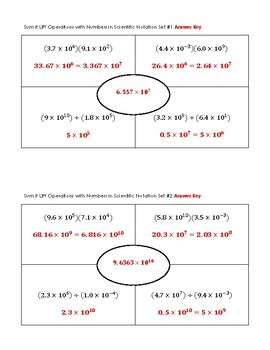 Sum it Up! Operations with Scientific Notation Activity