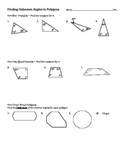 Sum of Interior Angles; Finding Unknown Angles in Polygons