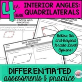 Sum of Interior Angles of Quadrilaterals Worksheets Tests