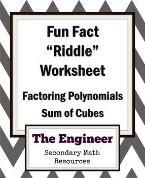 """Sum of Two Cubes Fun Fact Worksheet / """"Riddle"""" Worksheet / Homework"""