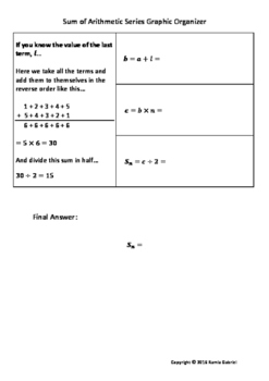 Sum of an Arithmetic Series Graphic Organizer