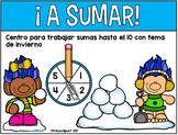 Suma - Centro Suma hasta el 10 con tema de invierno (Bilingual)