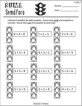 Suma Semáforo 1.OA.D.7 First Grade Math