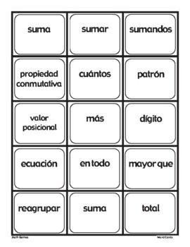 Suma - Tarjetas De Intercambio - Spanish Math Vocabulary Games and Lesson Plans