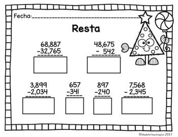 Suma y Resta - Números de 3, 4 y 5 dígitos