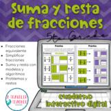 Suma y resta de fracciones cuaderno interactivo digital