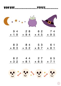 Sumas con llevadas Halloween / Halloween regrouping addition