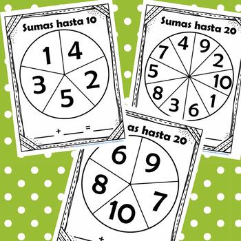 Sumas con ruletas hasta 10 y 20