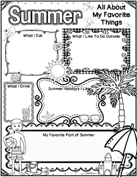 Summer Activities Freebie, End of Year, Writing Activity, Reflection