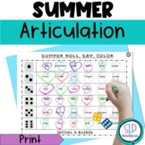 Summer Beach NO PREP Articulation Roll Say Color - Sound Practice Speech Therapy