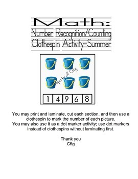 Summer-:Clothespins math activity
