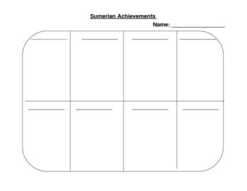 Sumerian Achievements Graphic Organizer
