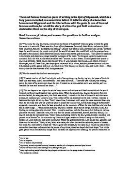 Sumerian Cultural Advancements Worksheet: Cuneiform, Ziggurats, and Gilgamesh