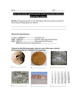 Sumerian Cultural Advancements Worksheet: Cuneiform, Ziggu