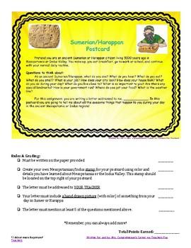 Sumerian/Harappan Postcard Activity