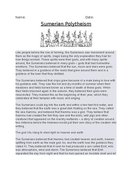 Sumerian Polytheism Article and Assignment Worksheet