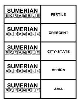 Sumerian Scramble - Ancient Middle East or Sumerian Vocabulary Activity