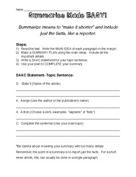 Summaries Made Easy!