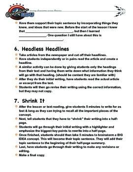 Summarization Activities for Middle School