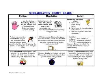 Summarization Choice Board for grades 3-7