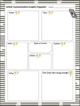 Summarization Notes Handout Freebie - Who, what, when, where, why, and how