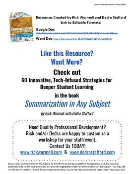 Summarization in Any Subject Resource- My Analysis Matrix