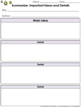 Summarize Content: Main Idea and Supporting Details Graphic Organizer - #2