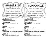 Summarize Interactive Notebook Mini Lesson Chart