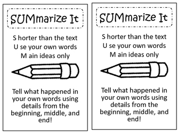 Summarize It! Summary Reading Chart or Interactive Notebook Material